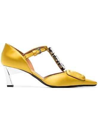 e1e9c6fe9084 Marni yellow 60 satin square toe Mary Jane shoes