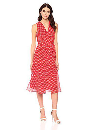 Anne Klein Womens Pleated V-Neck Midi Dress, Tomato/Parchment, 10