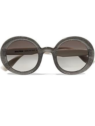d35ca7abda6b Miu Miu Round-frame Glittered Acetate Sunglasses - Black