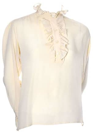 7947dbe1893d5 Saint Laurent 1970s Vintage Ysl Yves Saint Laurent Cream Silk Blouse With  Ruffles