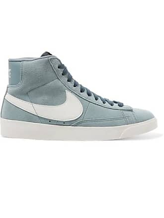 Nike Blazer Faux Suede And Leather High-top Sneakers - Gray