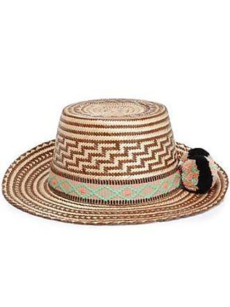 95f58f93fa988c Yosuzi Yosuzi Woman Pompom-embellished Woven Straw Sunhat Brown Size M