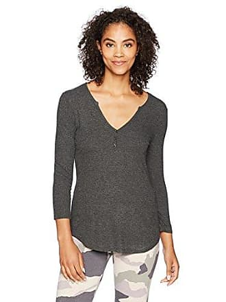 Maidenform Womens Prima Ballerina Lounge Henley 3/4 Sleeve Shirt, Heather Charcoal, Medium