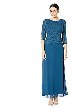 Alex Evenings Womens Long Mock Dress with Full Skirt (Petite and Regular Sizes), Peacock, 6