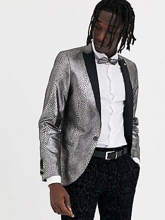 Twisted Tailor Blazer super skinny pitonato piombo-Argento