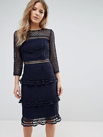 Liquorish layered lace 3/4 sleeve midi dress - Navy
