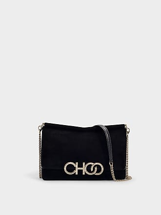 6be251ddec6 Jimmy Choo London Sidney Choo Logo Bag in Black Suede with Crystal Logo