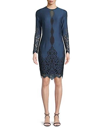 3276a8225119 Elie Tahari Pepper Jewel-Neck Long-Sleeve Jacquard Lace Dress
