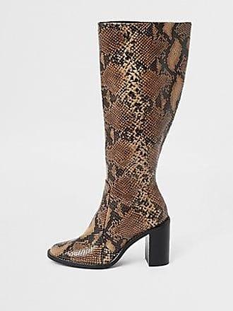 110b6dd18 River Island Womens Brown snake print knee high boots