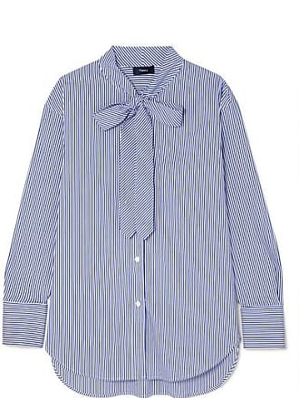 Theory Weekender Pussy-bow Striped Cotton-blend Shirt - Blue