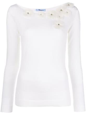 Blumarine Suéter com aplicação de flores - Branco