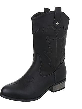ad08c8b53981ce Ital-Design Western-   Bikerstiefel Damen-Schuhe Cowboy Stiefel Blockabsatz Warm  Gefütterte Reißverschluss