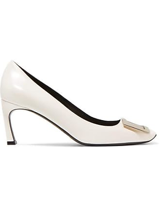 344573035085 Roger Vivier Belle Vivier Trompette Leather Pumps - White