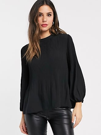 Warehouse blouse with pleat detail in black