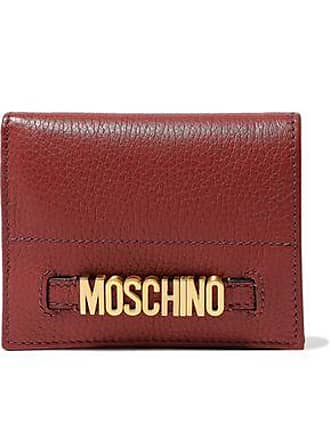 Moschino Moschino Woman Embellished Textured-leather Wallet Brick Size