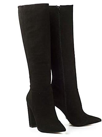 Buffalo Damen Stiefel High Heel Boots Leder Schwarz Blockabsatz Nubuck  ZS6214-16 (39, e74f826307