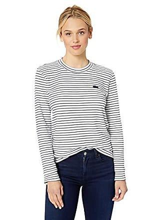 03fe5e7a049 Lacoste Womens Long Sleeve Crewneck Interlock Cotton Sweatshirt, Flour/Navy  Blue, 4