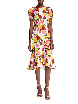 eaee44460df Naeem Khan High-Neck Floral-Print Matelasse Midi Cocktail Dress
