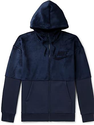 Nike Fleece And Cotton-blend Jersey Zip-up Hoodie - Navy