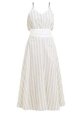 Zeus + Dione Aeolia Striped Cotton Midi Dress - Womens - White