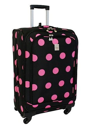 Jenni Chan Dots 360 Quattro 28-Inch Upright Spinner Luggage, Black/Pink