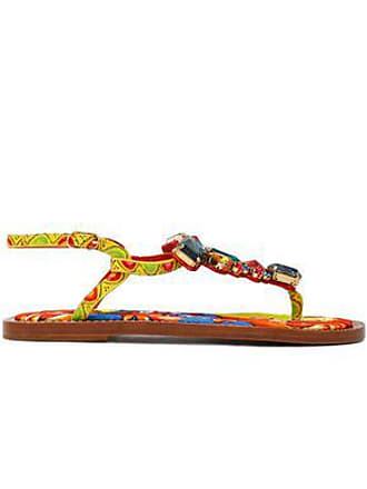 d4f1f9173ae7 Dolce   Gabbana Dolce   Gabbana Woman Crystal-embellished Printed Leather  Sandals Multicolor Size 35.5
