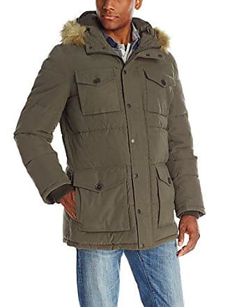 Tommy Hilfiger Mens Micro Twill Full-Length Hooded Parka Coat, Olive, X-Large