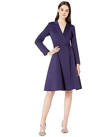 Badgley Mischka V-Neck Long Sleeve Coat Dress (Sapphire) Womens Dress