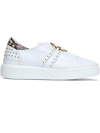 916b83718f Roberto Cavalli Roberto Cavalli Woman Python-trimmed Embellished Leather  Sneakers White Size 39
