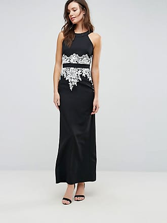 Paper Dolls Halter Maxi Dress With Floral Detail - Black