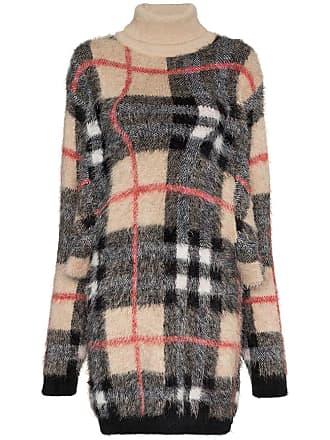 Y / Project Vestido de tricô xadrez - Neutro