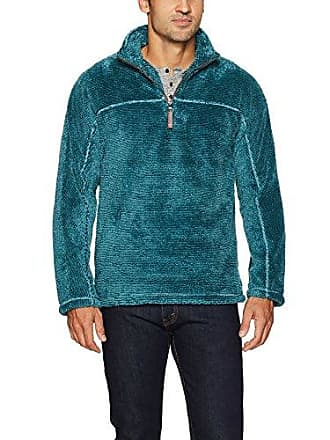 True Grit Mens Luxe Ultra Soft Fleece Mini Stripe 1/4 Zip Pullover, Ocean, S