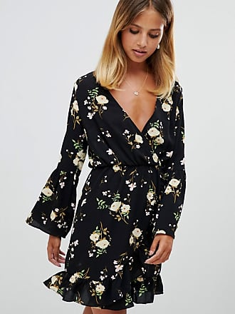 Girl in Mind flute sleeve floral wrap dress - Multi