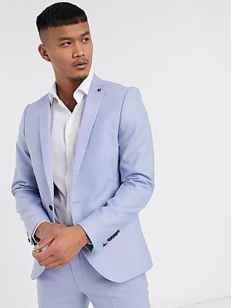 Twisted Tailor Giacca da abito azzurro pastello con dettagli in raso a contrasto-Blu