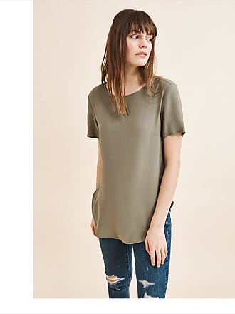 Dynamite Relaxed Crew Neck Blouse DEEP LICHEN GREEN