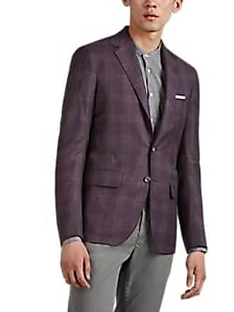 57fec21350a8fb Sartorio Mens Plaid Wool Two-Button Sportcoat - Purple Size 38 R