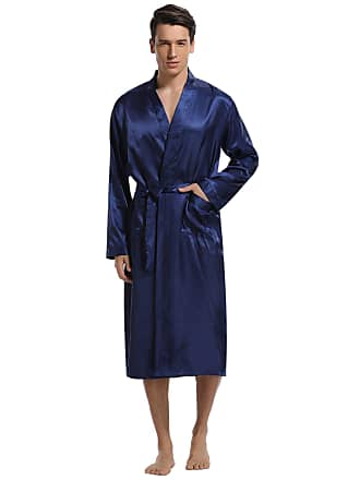 f8b723cd88b8 Aibrou Mens Long Kimono Bathrobes Robes Satin Silk Pure Color Dressing Gowns  Nightwear with Sash Belt