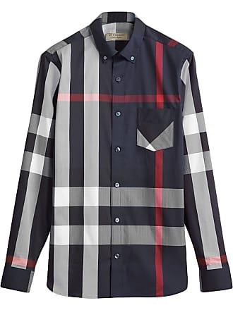 Burberry Button-down Collar Check Stretch Cotton Blend Shirt - Black 7565febdbf