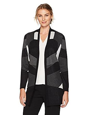 Kasper Womens Edge Long Cardigan Sweater, Charcoal Multi, M