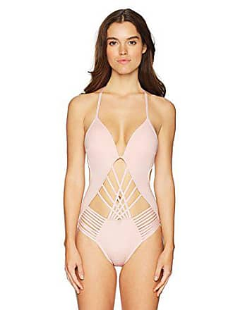 b84c55f704acc Kenneth Cole Womens Strappy Cut Out Halter One Piece Swimsuit, Blush //  Sexy Solids