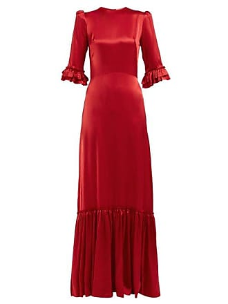 The Vampires Wife Festival Ruffle Trimmed Silk Satin Maxi Dress - Womens - Red