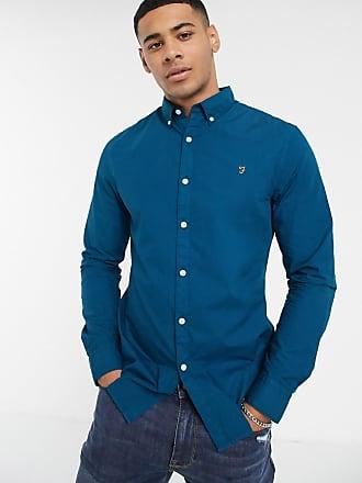 Farah Farley - Blaues Popelinehemd mit Button-Down-Kragen