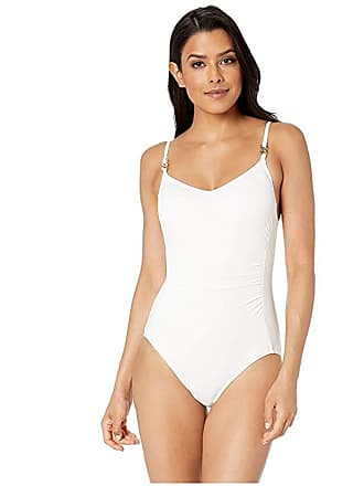 266ab663fd57d9 Michael Kors Radiant Chain Solids Logo Chain Over the Shoulder One-Piece  (White)