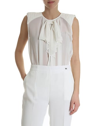 Elisabetta Franchi Sleeveless shirt with bow detail in ivory color