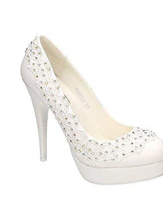 6291ac3e1ecf King Of Shoes Damen Brautschuhe Hochzeit Pumps Weiß Strass Nieten Stilettos  Elegant High Heels Plateau Abend