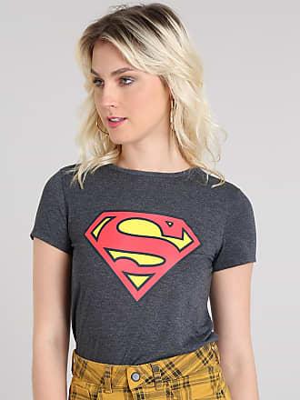 DC Comics Blusa Feminina Super-Homem Decote Redondo Manga Curta Cinza Mescla Escuro