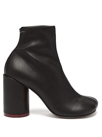 Maison Margiela Mm6 Maison Margiela - Heel Stamp Leather Boots - Womens - Black
