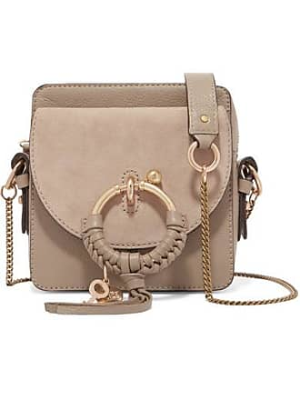 See By Chloé Square Textured-leather And Suede Shoulder Bag - Gray