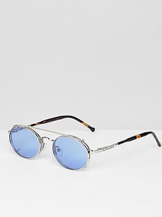 f407a70987ac5f Spitfire Spectrum - Lunettes de soleil rondes à clipser - Argent et bleu -  Argenté