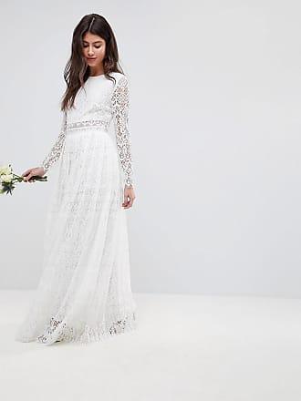 bf90c17e0aa22 Asos Lace Long Sleeve Crop Top Maxi Wedding Dress - White